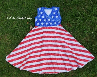 American flag 4th of July girls dress size 6 sparkle summer dress sun dress patriotic Independence stars stripes tank dress