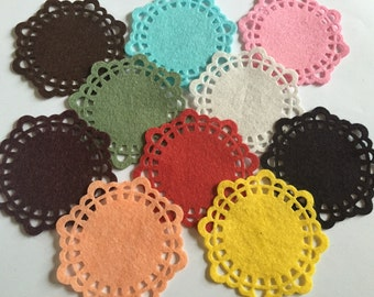 Wool Felt Doilies 10 total - Random Colored 3201