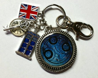 SALE Doctor Who Inspired Key Chain - Time Lord Seal of Rassilon - Twinkling Stars & Nebula - TARDIS Blue