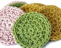 Reusable Cotton Crochet Scrubbies in a Set of Five - Crochet Face Scrubby Sets in Pink, Green and Gold - Crochet Face Rounds with a Strap