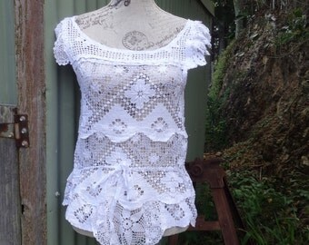 summery white lace top, hippy country blouse, mex, beach, summer, festival, boho, m/ l