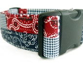 Red White & Blue American Patchwork Dog Collar - 1.5 inch width - Black Hardware