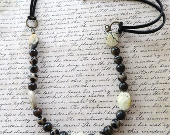 Black Suede Leather And Beaded Necklace With Spotted Jasper Multi Colored Tigers Eye And Faceted Jasper