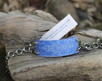 Bracelet Blue Buddha- Adjustable Bracelet that opens so you can customize to hold your fortunes, inspirations & dreams