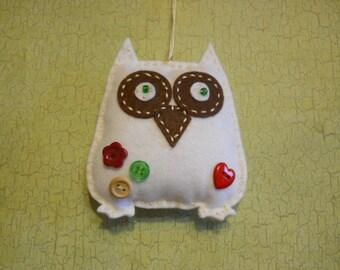Owl Felt Ornament, Tree Ornament, Owl Decoration, White Owl Ornament, Child's Owl Ornament,