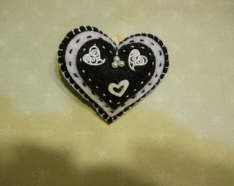 SALE   Felt Heart Pin, Black and White Heart Pin, Felt Heart , Stuffed Felt Heart, Felt Heart Brooch, Birthday Gift, Mothers Day Gift