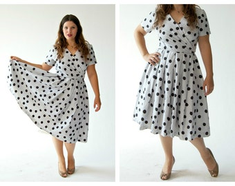 Polka Dot Blue Swing Dress- 8, 90s Does 50s, Pinup Retro Fit and Flare, Circle Skirt Rockabilly Vintage