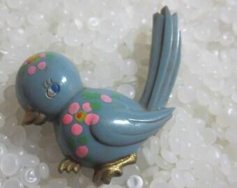 Vintage vintage pin, soft blue bird