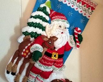 FINISHED Bucilla Stocking-Nordic Santa