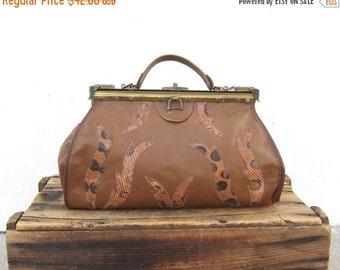 20% Off Sale SALE Vintage Brown Leather and Snakeskin Doctors Bag