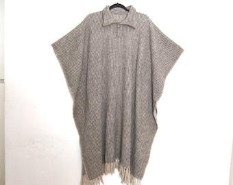 Poncho Wool Blanket Grey Plaid Navajo  OSFM