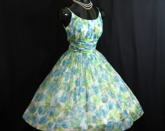 Vintage 1950's 50s Blue Green Ruched Floral Watercolor Chiffon Organza Party Prom Wedding Dress Gown