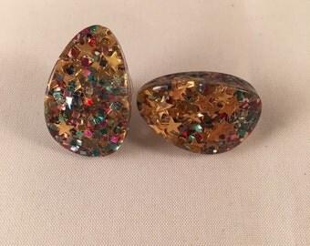 Vintage Multi-Color Glitter Earrings