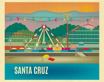 Santa Cruz Print, Santa Cruz Wall Art, Santa Cruz Travel Print, Santa Cruz Beach Boardwalk Poster Art, Loose Petals - style E8-O-SANTA-CRU