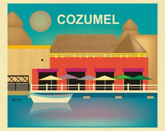 Cozumel Print, Cozumel Mexico Art, Cozumel Poster, Mexican Print,  Cozumel Island Art,  Cozumel Harbor Art Print, Cozumel - style E8-O-COZ