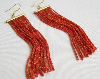 Long Fringe Earrings - Orange fringe earrings - long dangle earrings - tassel earrings - stylish fringe earrings - girlfriend gift idea