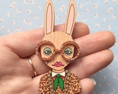 Wooden Hand Painted Iris Bunny Brooch with Rose Gold Glasses