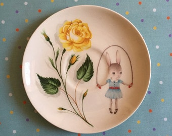 Small Skipping Rope Bunny with Yellow Rose Floral Vintage Illustrated Plate