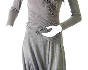 Skirt,culottes,grey skirt,long skirt,medium skirt,jersey skirt,asymmetric skirt,original skirt,autumn skirt,original design,casual S-08