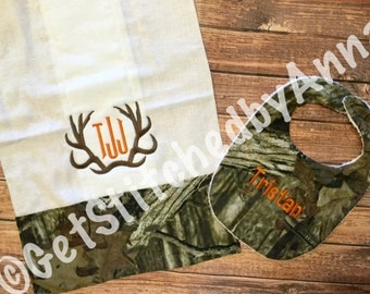 Camoflauge Baby Bib and Burp Cloth set, monogrammed baby bib and burp cloth