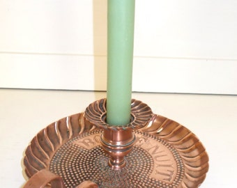 Lovely Bonne Nuit, Good Night Candle Holder.  Vintage French Rose Copper Candle Holder.  Artisan made Off to Bed Candle Holder (4284s)