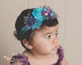 Shabby Chic Headband, Baby Headband, Peacock Shabby Flower Headband, Peacock Purple Aqua Lavender Headband, Girl Headband, Toddler Headband