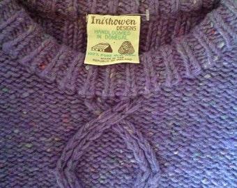 Vintage Inishowen Donegal Ireland New Wool Sweater Handloomed