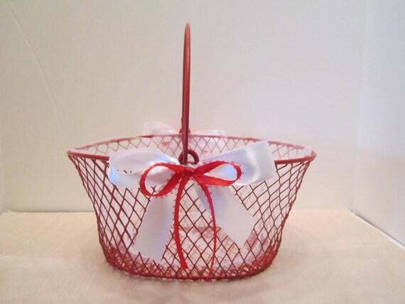 Flower Girl Basket - Red Wire Basket - Christmas Season Wedding Decor - Dressed Up and Wedding Ready - OOAK