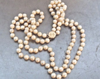 vintage pearl necklace - 1940s-50s pearl/14k gold double-strand necklace