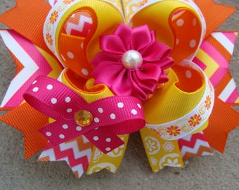 Pink and Orange Hair Bow Summer Hair Bow hot pink and orange hair bow shocking pink and orange hair bow