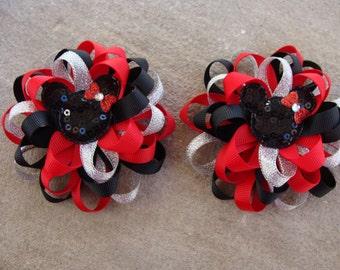 2 Disney Hair Bows Mickey Mouse Hair Bow Minnie Mouse Hair Bow Loopy Flower Hair Bow silver red and black hair bows