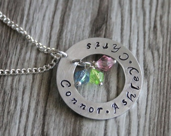 Mom Necklace, Personalized Jewelry, Name Necklace, Birthstone Acrylic Color, Mom Birthday Gift, Mom Children Necklace, Gift for Her