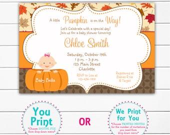 Pumpkin Baby shower invitation -  Baby Pumpkin Baby Shower Invitation  Baby Boy or Girl Baby Shower