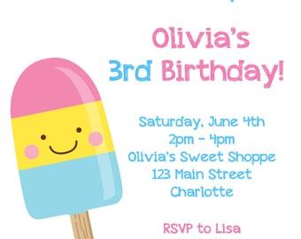 Ice cream Party Birthday Invitation Ice Cream Birthday Popsicle Party