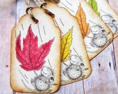 Fall Gift Tags Rustic Autumn Leaves Woodland Mice Thanksgiving