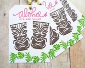 Aloha Tiki Tags Destination Wedding Hawaiian Luau Birthday Tropical Party Tag