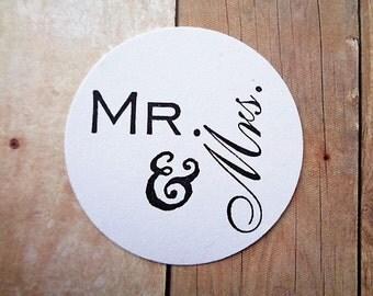 Mr & Mrs Stickers Envelope Seals Labels Just Married Cardstock