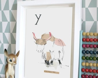 Youthful Yak, Animal Alphabet Gicleé print with Neon Tape