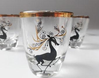 Vintage Christmas Reindeer Shot Glass Set France