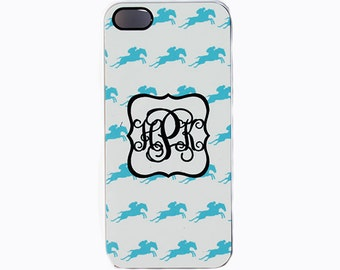 iPhone 5, 5c, 6, 6+ Personalized Cover With Monogram, iPod Case, Preppy Blue Horse Cellphone Cover