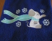 Scarf Muffler - Elephant Embroidered Royal Blue Fleece  - Can Be Personalized