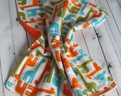 Ready to Ship // Ann Kelle's Urban Zoologie Giraffes in Orange and Green Flannel Fabric and Orange Minky Dot Security Blanket Lovey