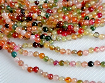4mm agate beads, Double strands 33 inch (219 pcs) in Mixed color-8867