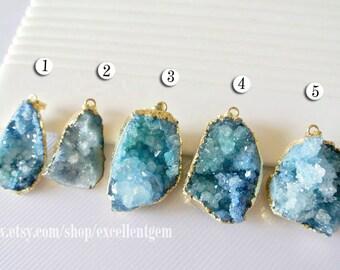 Druzy Druzy pendant Geode pendant druzes stone pendant 24k Gold plated Edge Druzy in blue color Jewelry making JSP-5549
