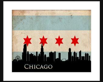 Chicago Skyline Print Poster Chicago Flag