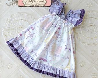 Toddler Flutter Sleeve Dress, Paris Dress, Toddle Girl Baby Boutique Clothing, Paris Birthday Dress