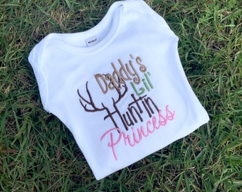 Daddy's Lil Huntin Princess Shirt, Personalized Shirt, Hunting Shirt, Girls Shirt, Baby Girl