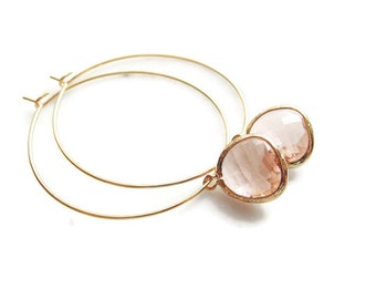 Champagne peach GLASS drop large gold hoop earrings. Bridal earrings. Bridesmaids earrings.  Wedding jewelry