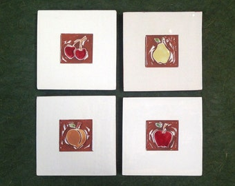 """ON SALE: Set of 4 fruit ceramic wall hangings, tiles or coasters 4""""x4"""""""