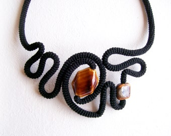 Statement Necklace Black & Tortoise Shell - Modern Pattern Geometric Necklace - Holiday Jewelry